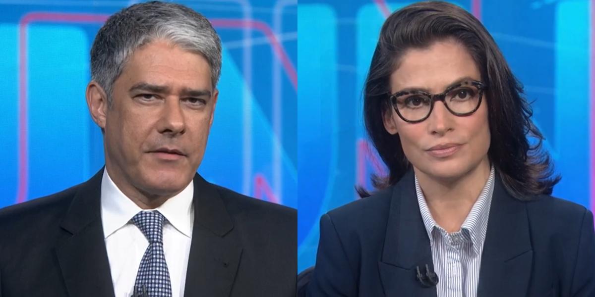 William Bonner e Renata Vasconcellos no Jornal Nacional (Foto: Reprodução/Globo)