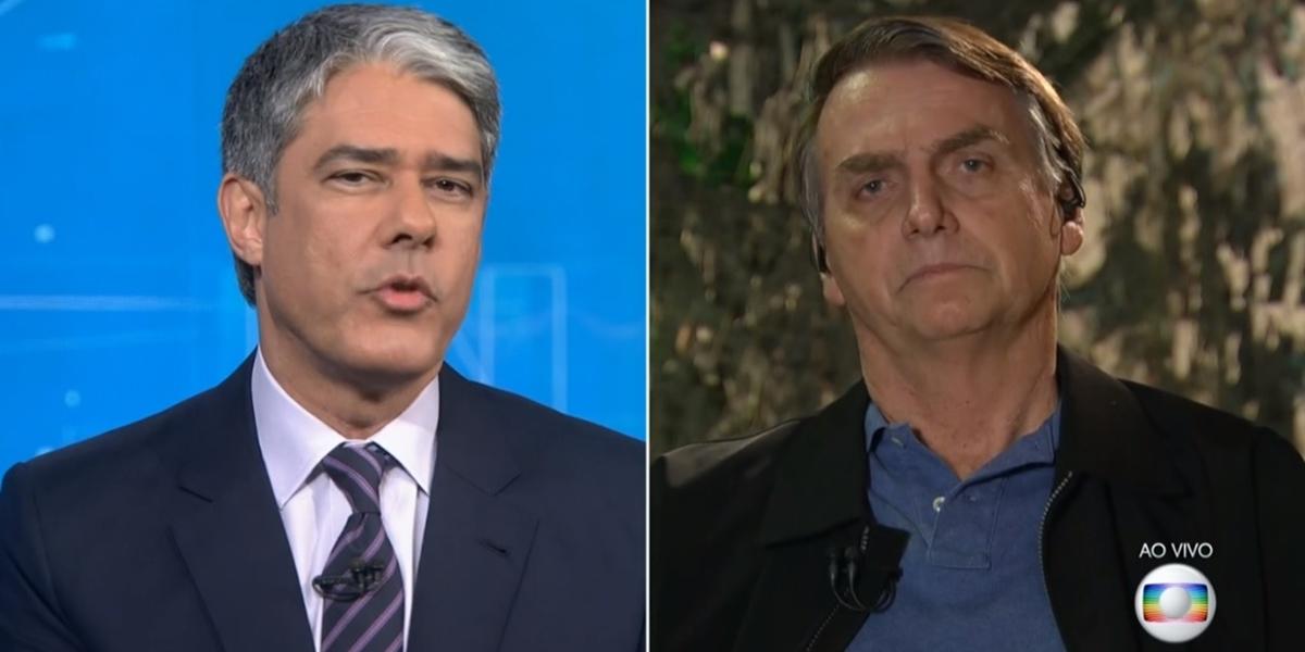 William Bonner e Jair Bolsonaro no Jornal Nacional; telejornal da Globo teve queda de audiência (Foto: Reprodução/Globo)