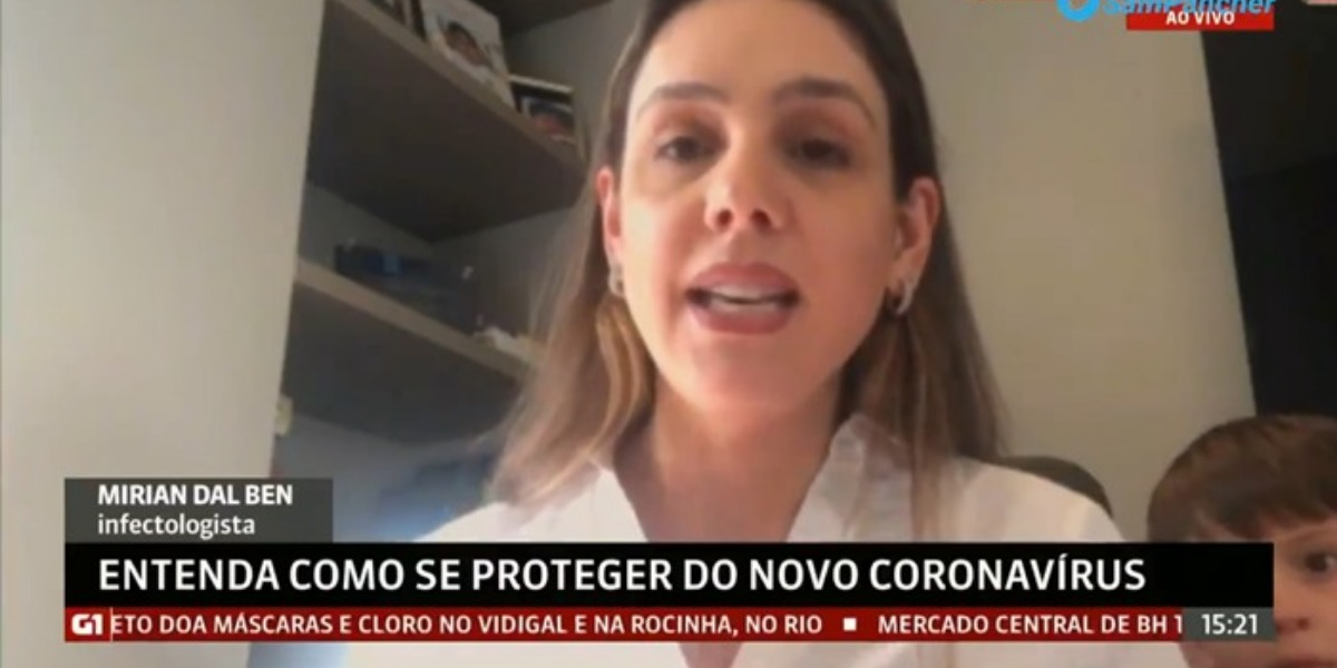 Mirian Dal Ben, infectologista foi interrompida pelo seu filho de 3 anos, durante participação ao vivo para o Globo News (Imagem: Reprodução)