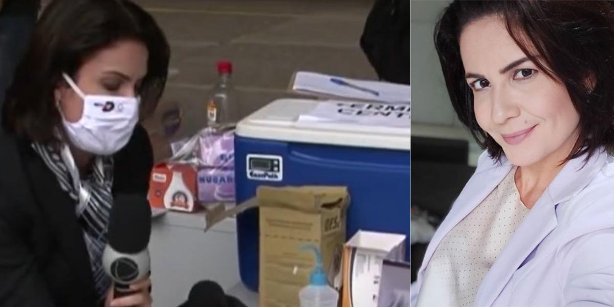 Kelly Borges, repórter do Balanço Geral Joinville, descobre doença ao vivo (Foto: Reprodução/Record)