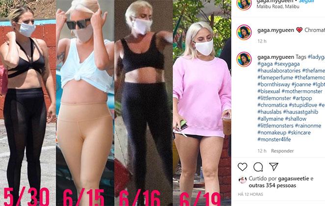 Imagens que mostram a barriguinha de Lady Gaga (Foto: Reprodução)