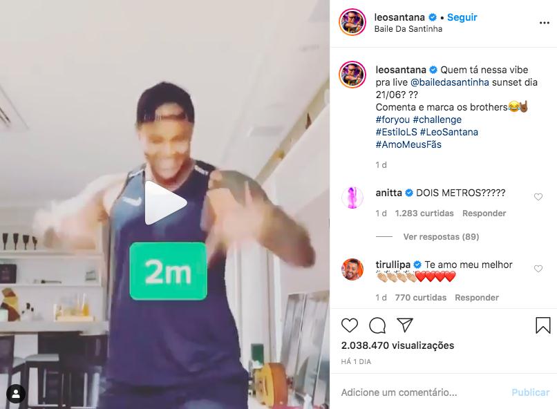 Léo Santana assusta fãs ao revelar altura nas redes sociais (Foto: Reprodução/Instagram)