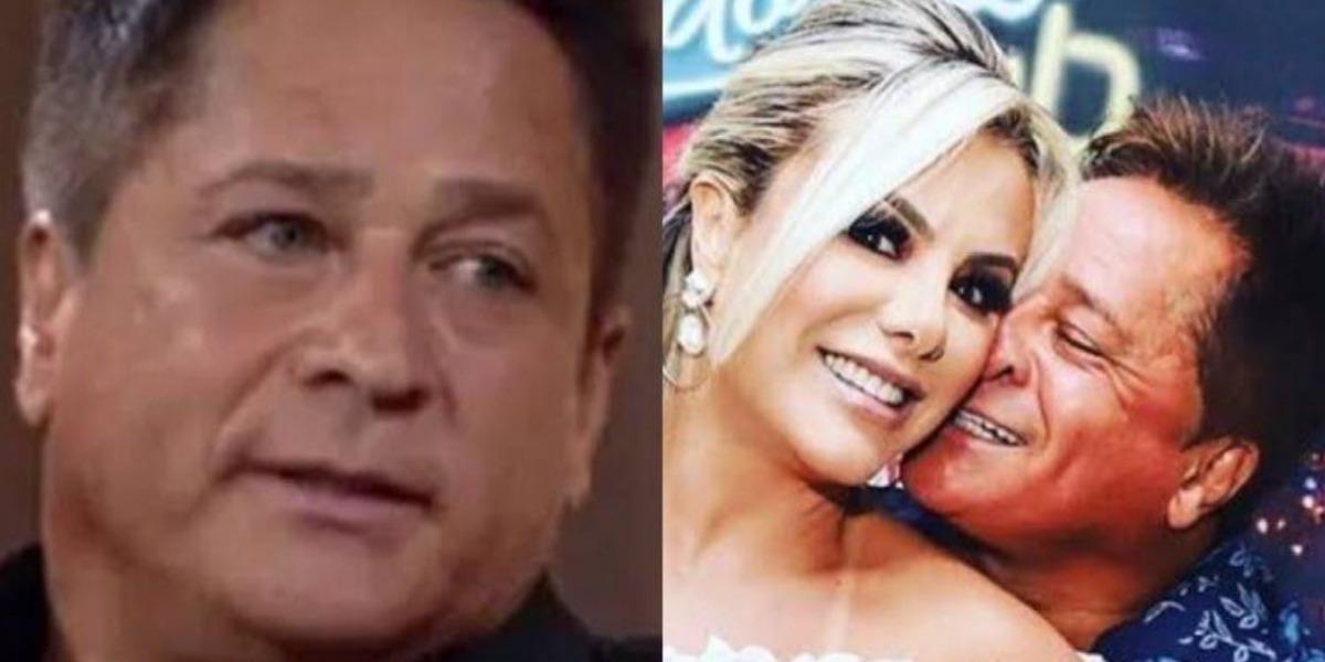 Leonardo vira meme ao viralizar vídeo que reclama da programação da TV para a esposa, Poliana Rocha (Montagem: TV Foco)