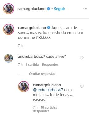 Luciano Camargo respondeu uma fã (Foto: reprodução/Instagram)
