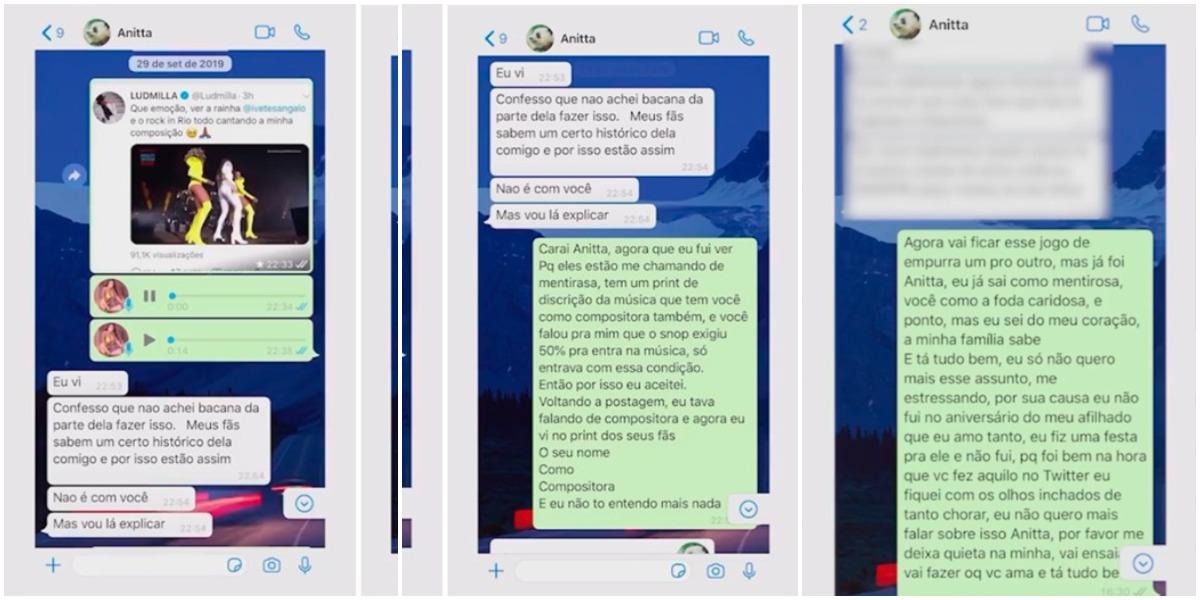 Ludmilla expôs conversas com Anitta (Reprodução)