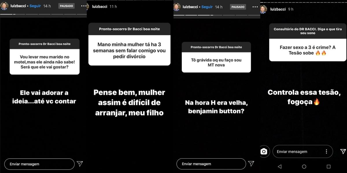 Luiz Bacci respondeu questionamentos sobre sexo (Foto: reprodução/Instagram)