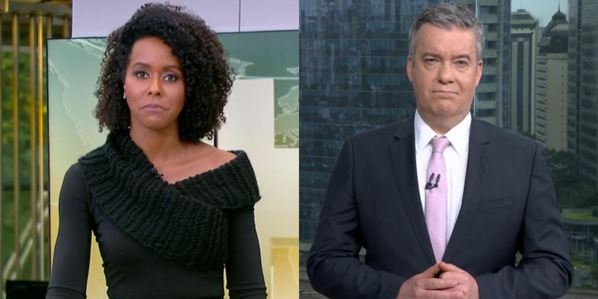Maju Coutinho no Jornal Hoje e Roberto Kovalick no SP1: telejornais bombaram em audiência (Foto: Reprodução/Globo)