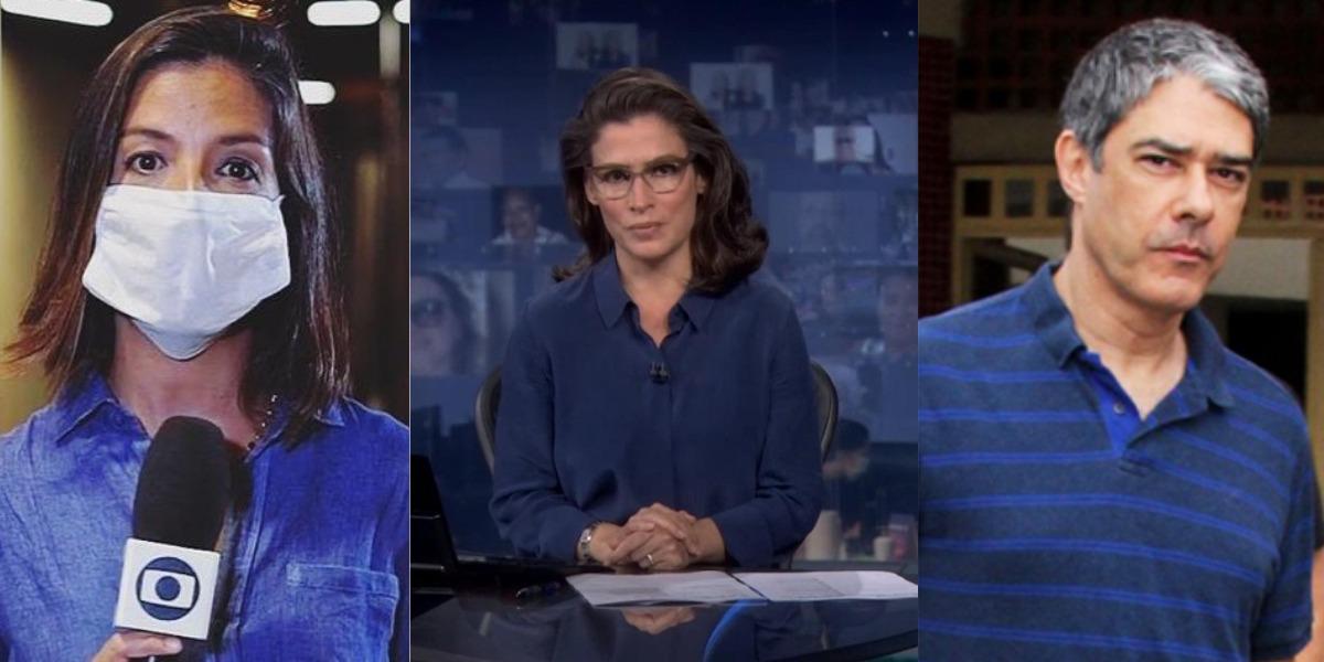 A repórter Marina Araújo e os âncoras Renata Vasconcellos e William Bonner (Foto: Reproduçao/TV Globo/AgNews)