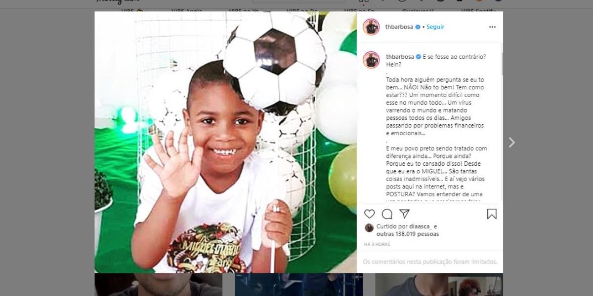 Thiaguinho fez homenagem ao menino Miguel (Foto: Reprodução/Instagram)
