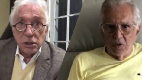 Moacyr Franco ao lado de Carlos Alberto de Nóbrega, o humorista aderiu as lives diárias em suas redes sociais (Montagem: TV Foco)