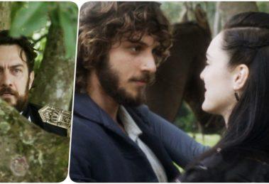 Fotomontagem de Thomas flagrando Anna e Joaquim juntos em Novo Mundo no ar livre