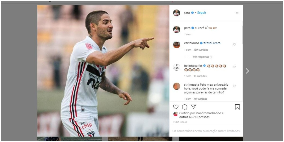 Pato com os comentários de suas publicações bloqueados (Foto: Reprodução/Instagram)
