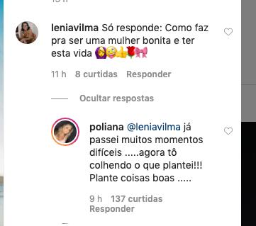 Poliana Rocha, esposa de Leonardo e mãe de Zé Felipe, respondeu internauta (Reprodução)