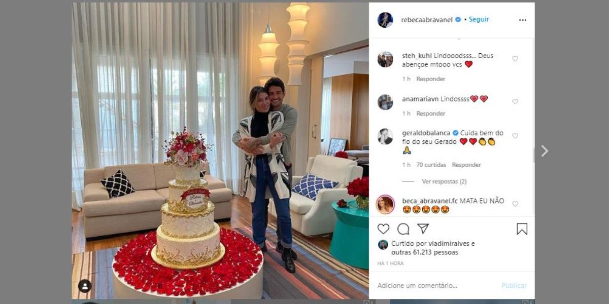 Geraldo Luís comentou foto de Rebeca Abravanel e Pato (Foto: Reprodução/Instagram)