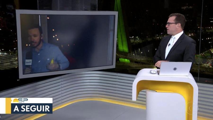Repórter André Modesto assustou Rodrigo Bocardi (Foto: reprodução/Globo)