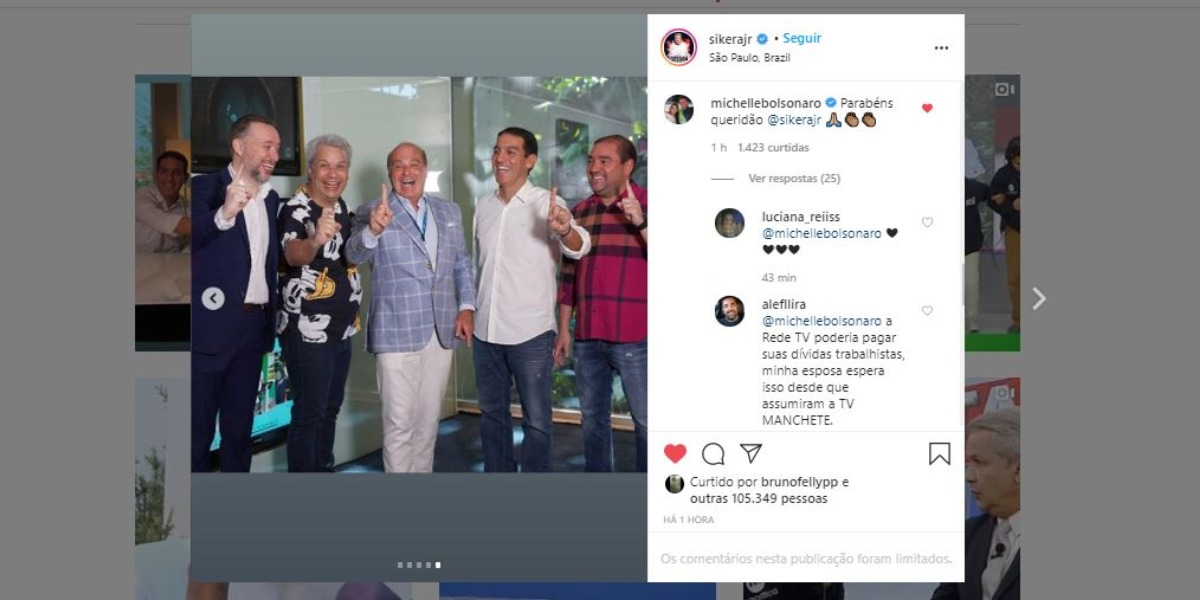 Sikêra Jr ganhou recado de Michelle Bolsonaro (Foto: Reprodução/Instagram)