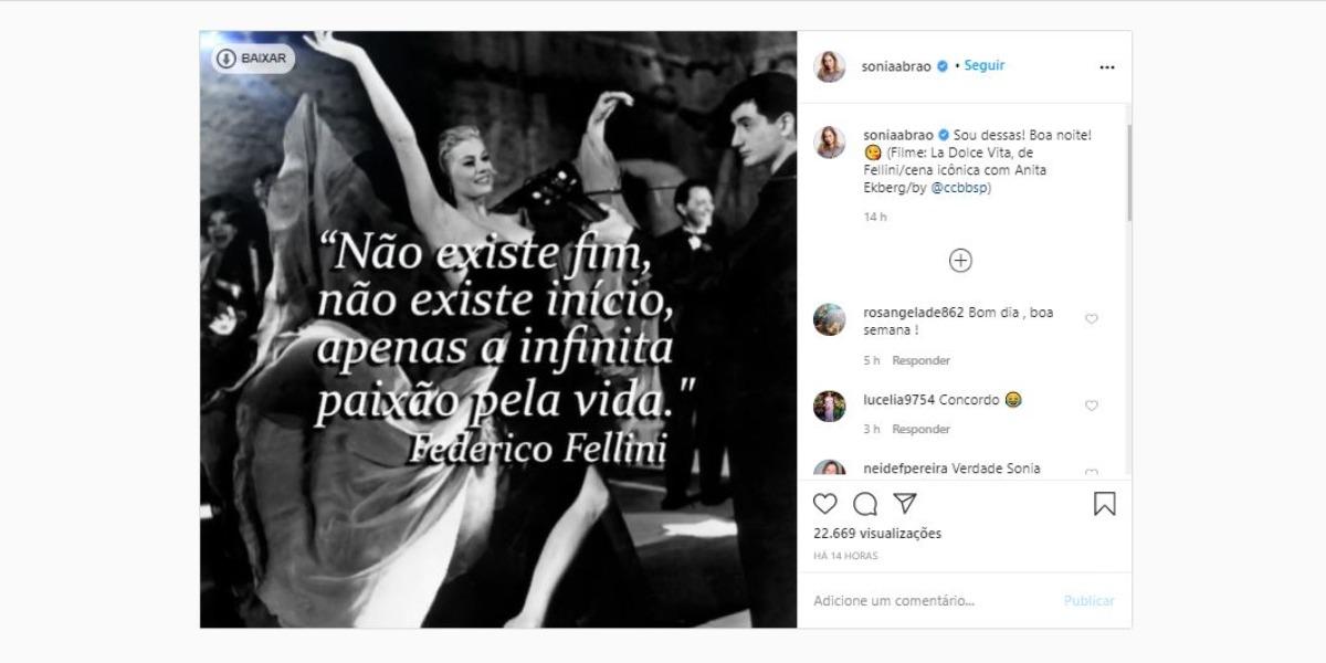 Sonia Abrão compartilhou pensamento (Foto: Reprodução/Instagram)