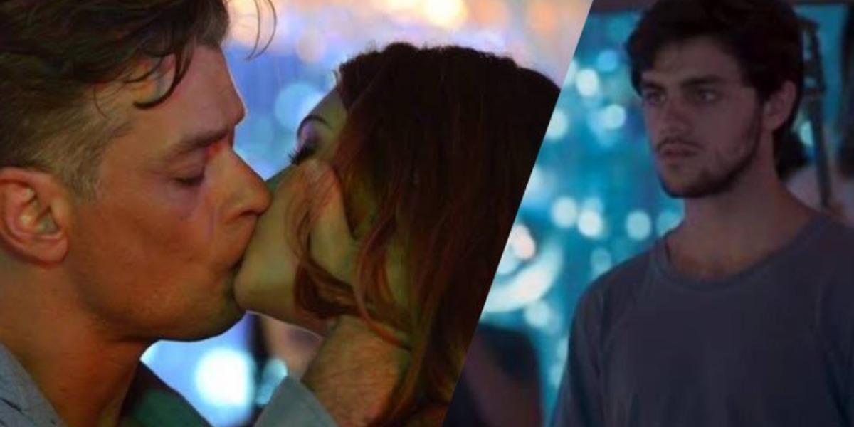 Totalmente Demais, Jonatas fica arrasado ao ver Eliza beijando Arthur (Montagem: TV Foco)