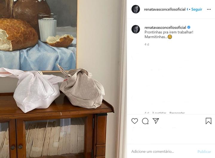 Renata Vasconcellos mostrou as marmitas que prepara para levar para a Globo. (Foto: Reprodução/Instagram)