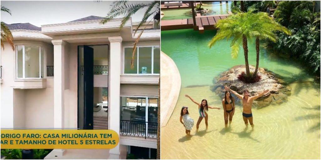 Mansão de Rodrigo Faro tem porta gigante e ilha particular. (Foto: Montagem/Reprodução)