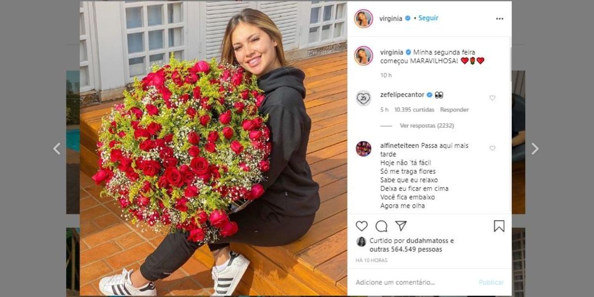 Virgínia Fonseca ganhou buquê gigantesco e Zé Felipe deixou um comentário curioso (Foto: Reprodução/Instagram)