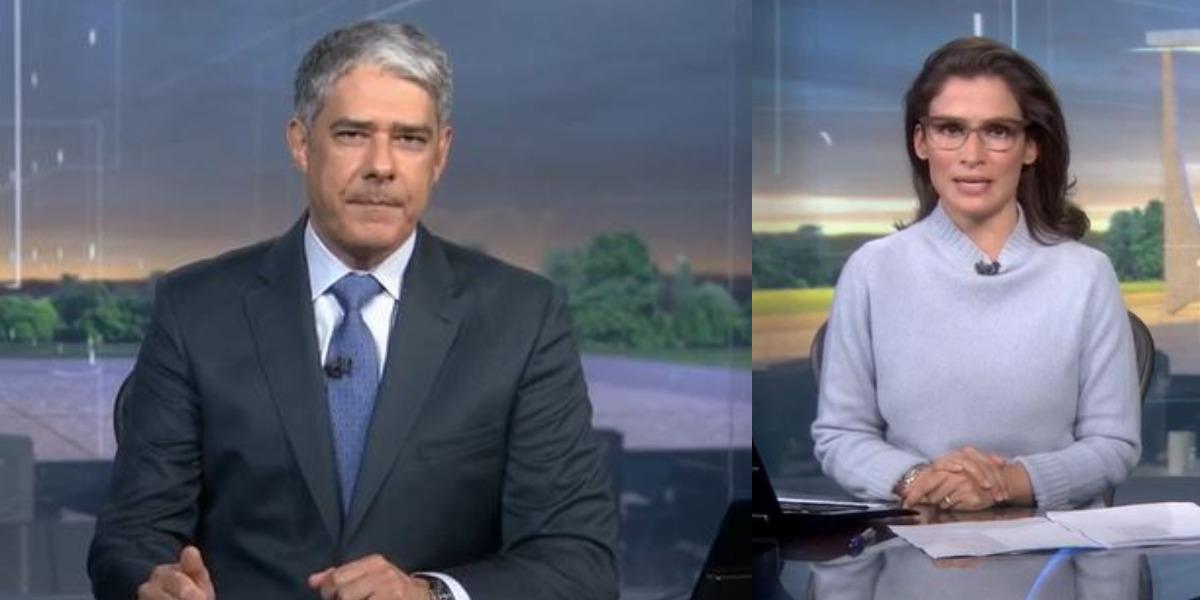 William Bonner e Renata Vasconcellos na bancada do Jornal Nacional de ontem (Foto: Reprodução/TV Globo)