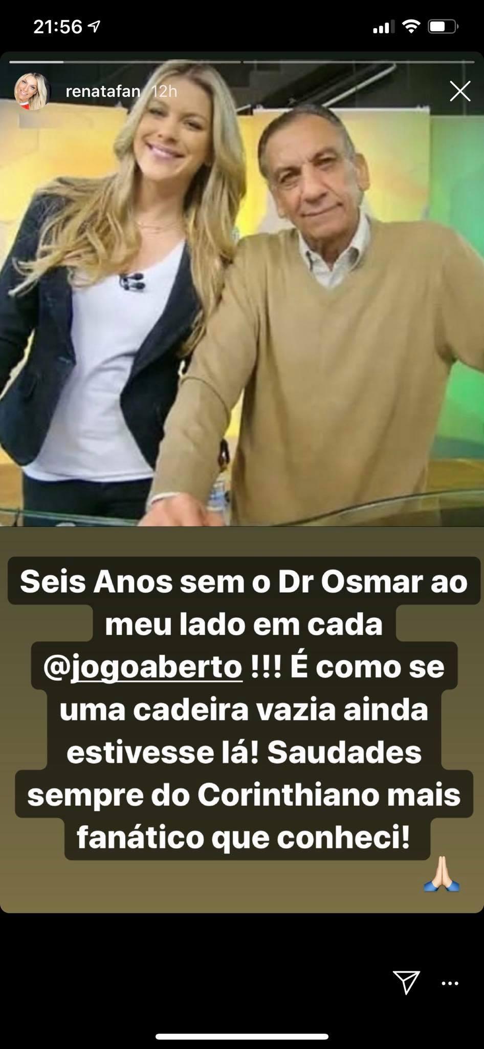 Renata Fan fez um textão de despedida para Osmar de Oliveira (Foto: Reprodução/ Instagram)