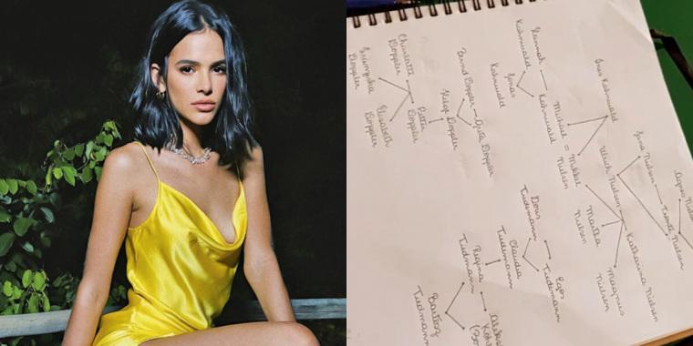 Bruna Marquezina faz diagrama para conseguir entender Dark (Foto: Reprodução)
