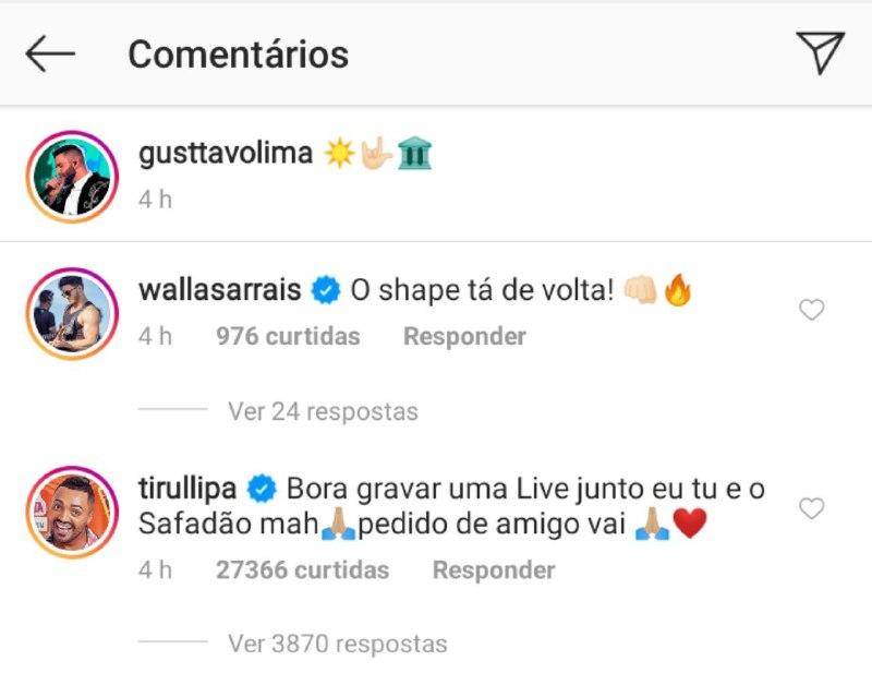 Gusttavo Lima foi colocado na parede por Tirullipa que fez proposta envolvendo Wesley Safadão (Foto: Reprodução/ Instagram)
