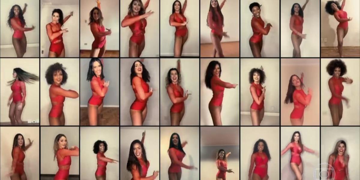 Bailarinas do Faustão gravaram de casa recentemente (Foto: Reprodução/TV Globo)
