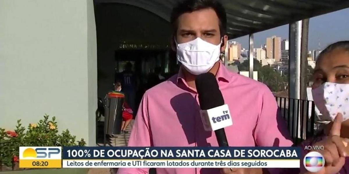 Mulher invadiu link ao vivo na Globo (Foto: Reprodução)