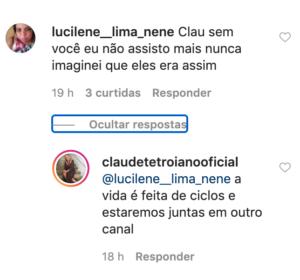 Claudete comenta no Instagram (Foto: Reprodução)