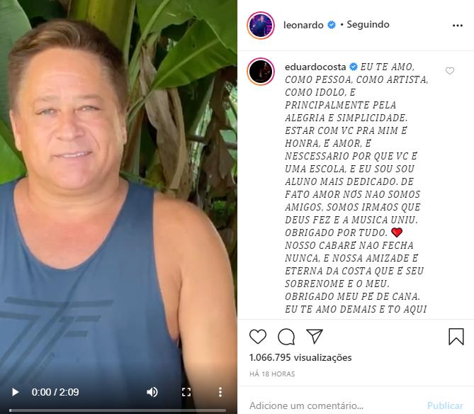 Leonardo e Eduardo Costa romperam a relação (Foto: Reprodução/ Instagram)