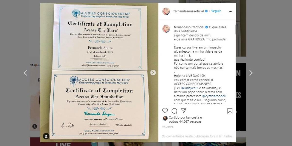 Fernanda Souza mostrou seus novos certificados (Foto: Reprodução/Instagram)