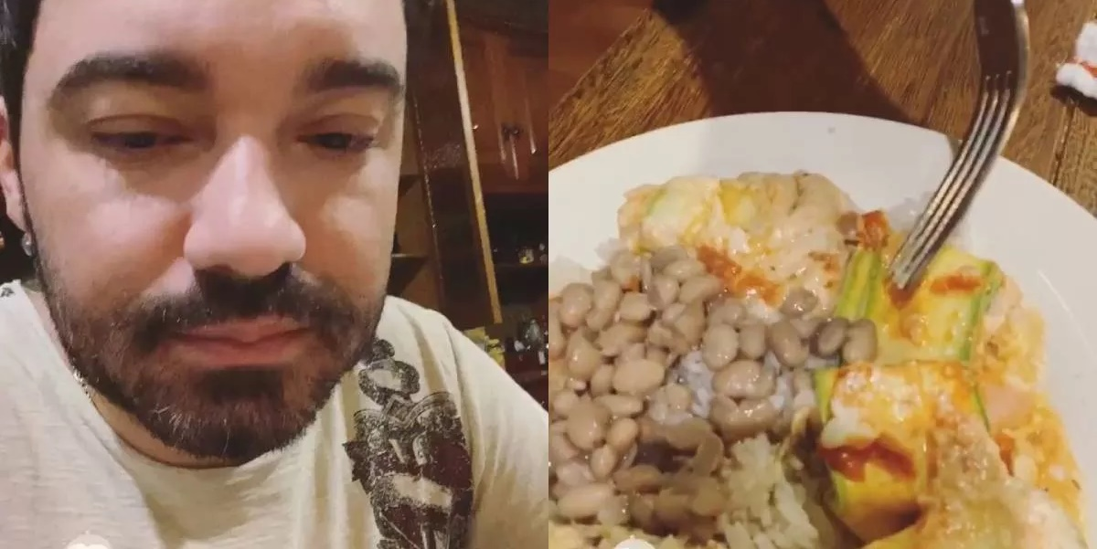 Fernando Zor exibindo o seu pratão de comida (Foto: Montagem)