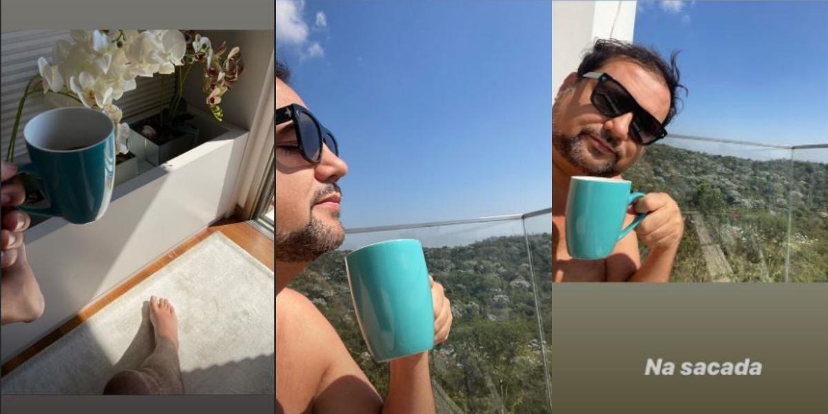 Geraldo Luís tomando café na sacada (Foto: Montagem)