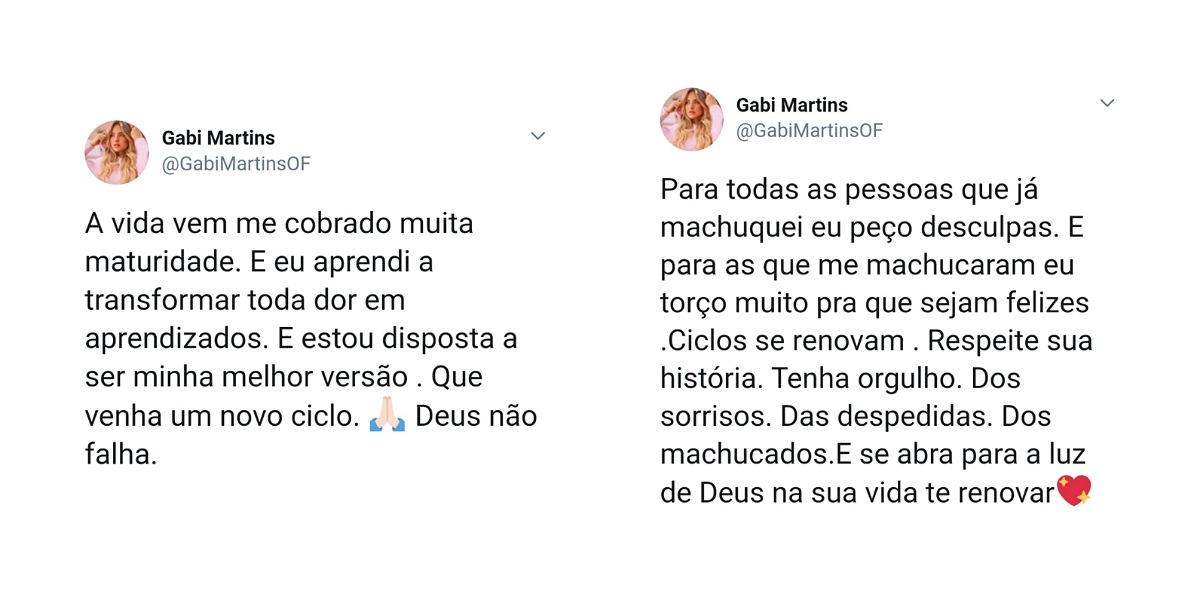 Gabi Martins faz declaração e pede desculpas por erros (Foto: Reprodução/Twitter)