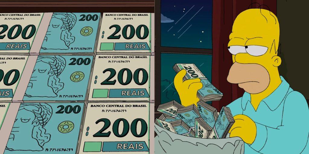 """Os Simpsons """"previu"""" nota de 200 reais. (Foto: Reprodução)"""