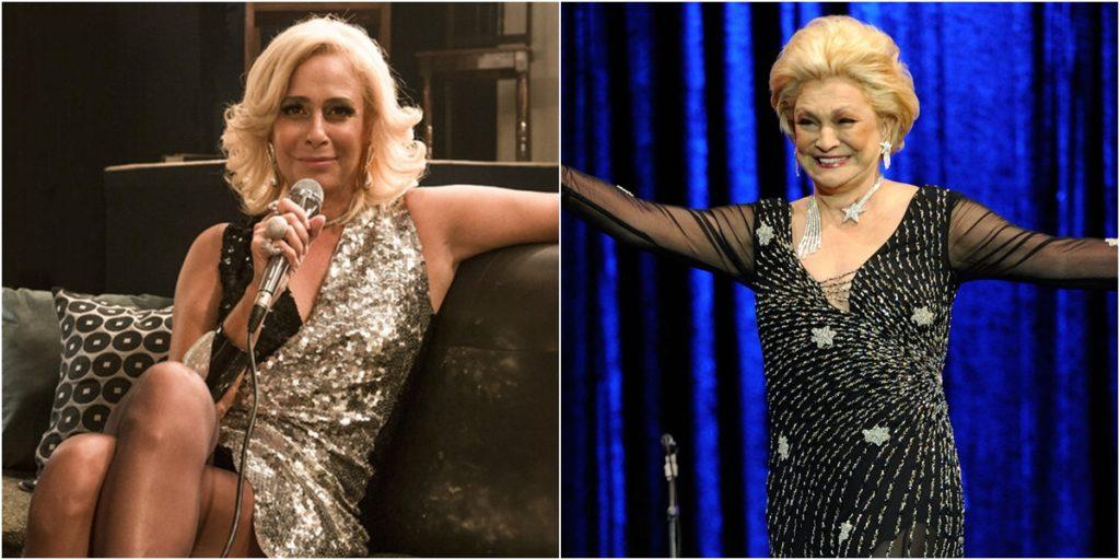 Andrea Beltrão interpretou Hebe em minissérie da Globo. (Foto: Montagem/Divulgação)