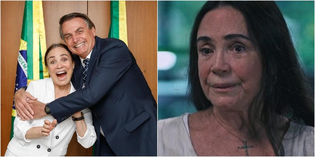 Regina Duarte, após se aliar a Bolsonaro, quer voltar à Globo. (Foto: Montagem/Reprodução)