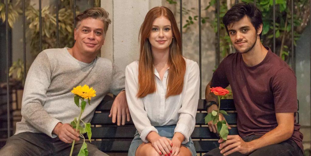 Fábio Assunção, Marina Ruy Barbosa e Felipe Simas foram protagonistas de Totalmente Demais. (Foto: Divulgação)