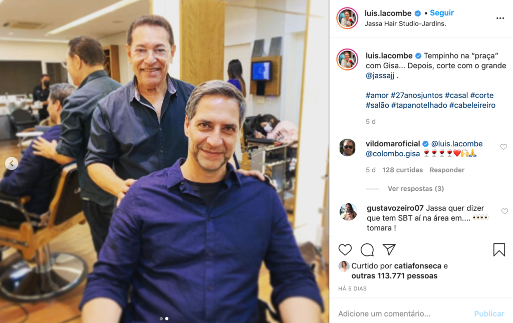 Publicação no Instagram de Lacombe com Jassa, amigo de Silvio Santos no SBT (Foto: Reprodução)