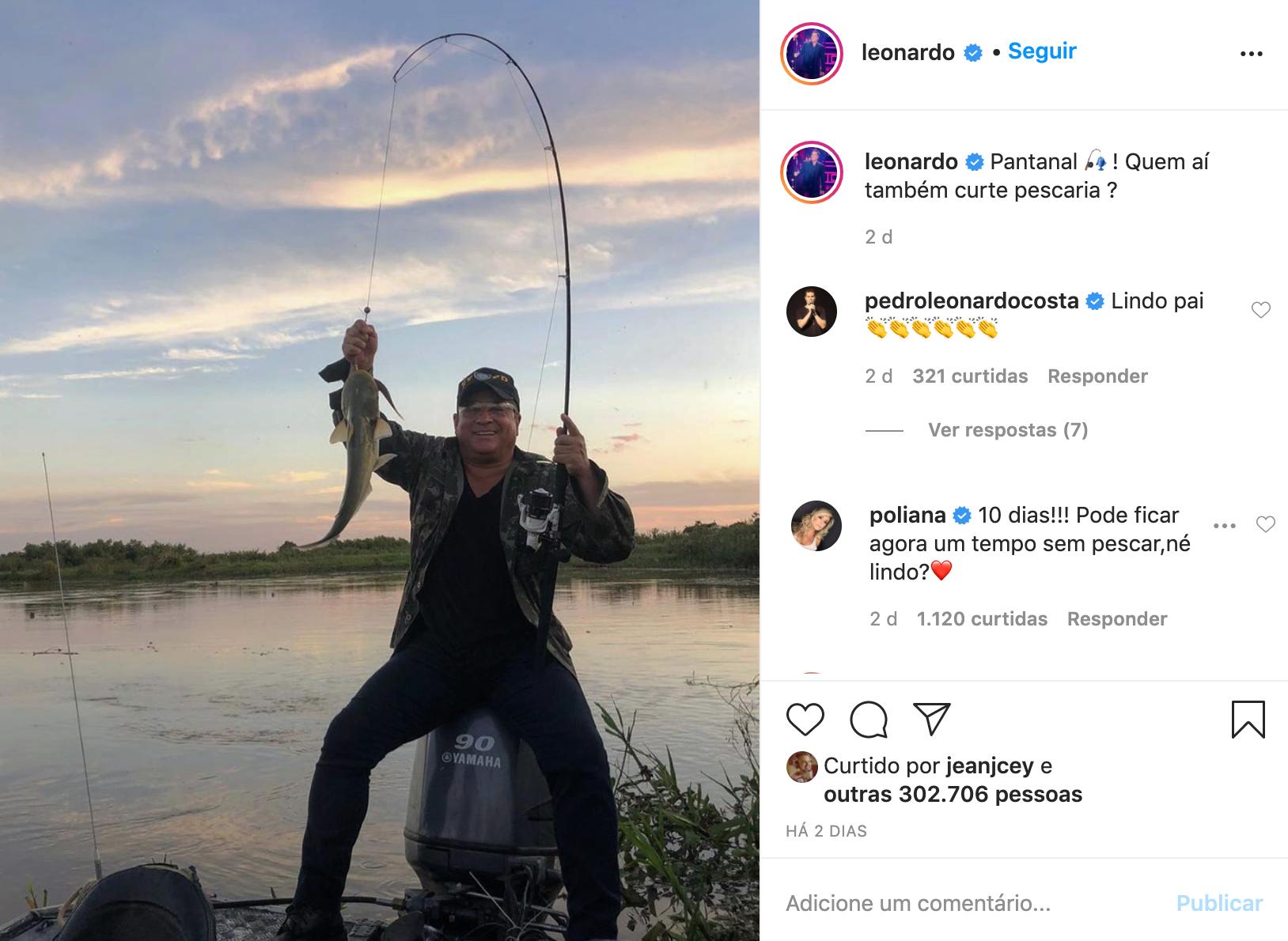Leonardo em publicação no Instagram com comentário de Poliana Rocha (Foto: Reprodução)