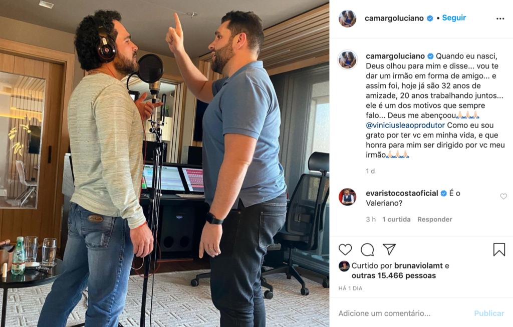 Captura de tela do Instagram de Luciano (Foto: Reprodução)
