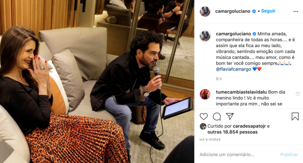 Luciano Camargo faz declaração para esposa Flávia (Foto: Reprodução)