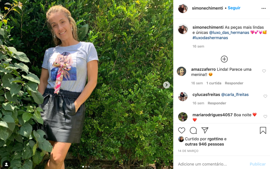 Print Instagram Simone, esposa de Reinaldo Gottino (Foto: Reprodução)