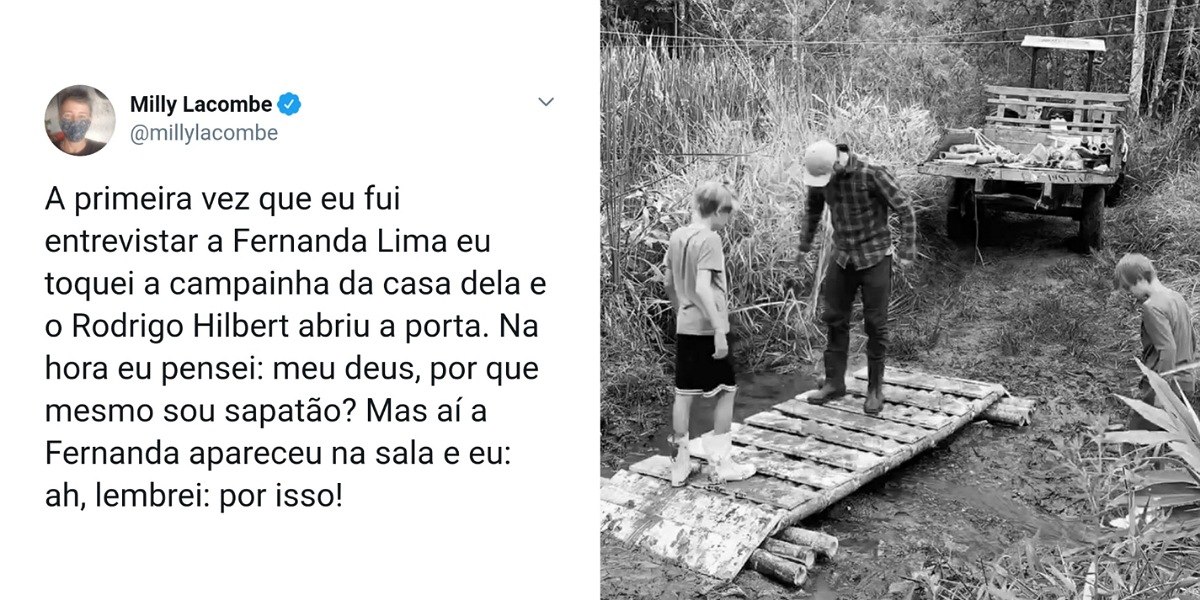 Rodrigo Hilbert mostra habilidades e constrói ponte com os filhos (Foto: Reprodução/Instagram)