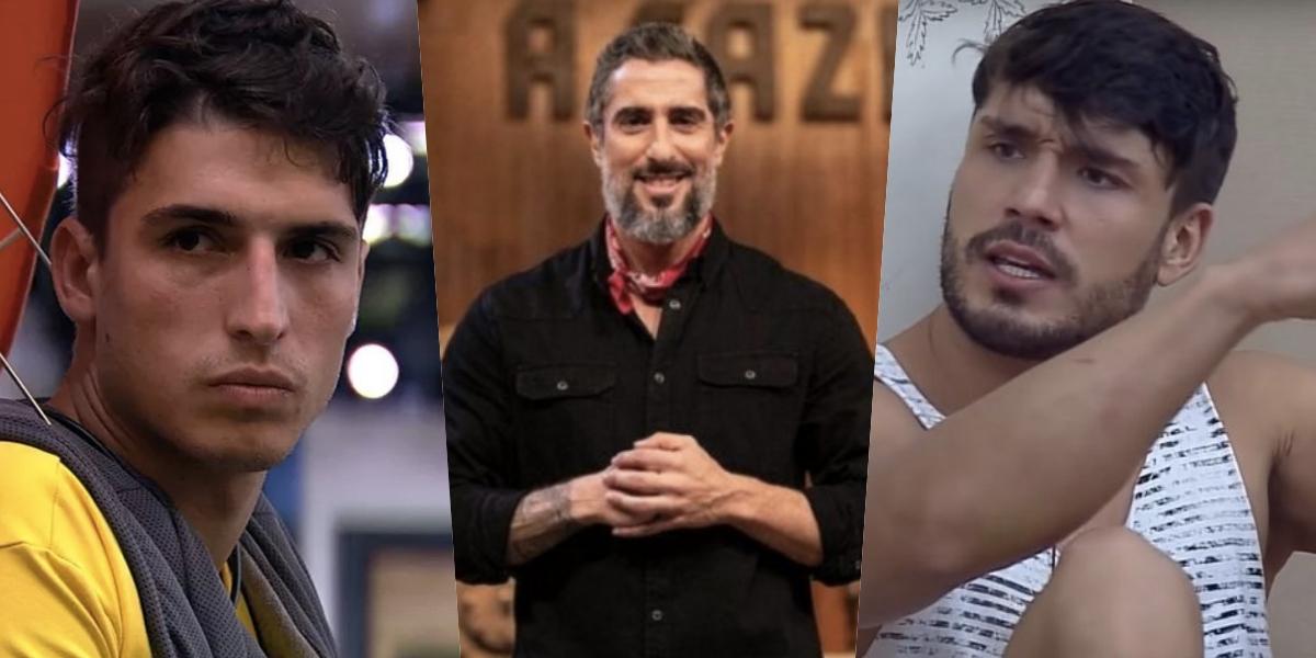 Felipe Prior, cotado para A Fazenda 12, Marcos Mion, o apresentador e Lucas Viana, último vencedor (Foto montagem: TV Foco)