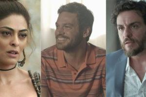 Bibi (Juliana Paes) com Rubinho (Emílio Dantas) e Caio (Rodrigo Lombardi) em A Força do Querer (Foto: Reprodução/Globo/Montagem/TV Foco)