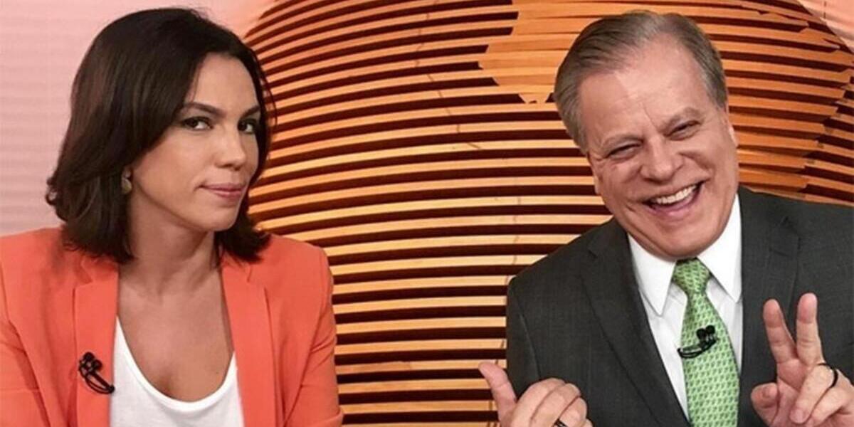 Ana Paula Araújo e Chico Pinheiro nos bastidores do Bom Dia Brasil (Foto: Divulgação/TV Globo)
